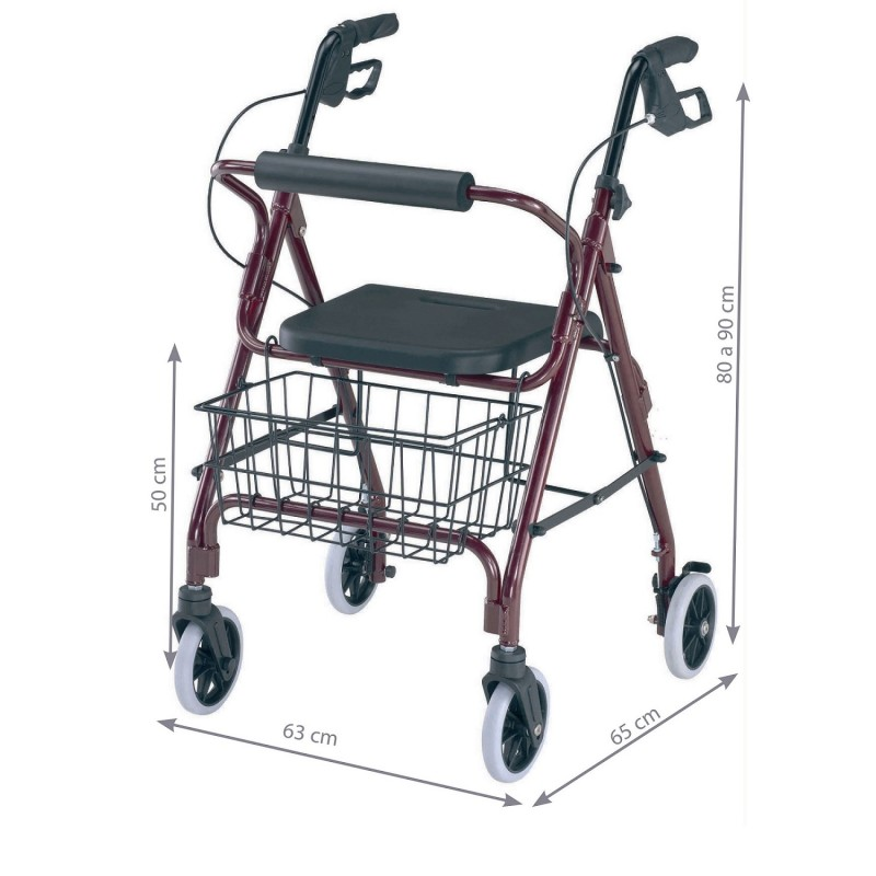 andador con freno manual para ayudar a personas con movilidad reducida
